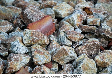 Pile of jagged stones and rock pieces
