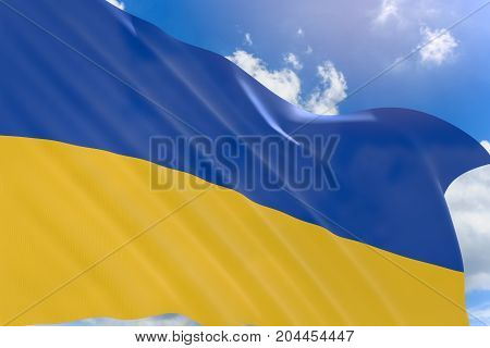 3D Rendering Of Ukraine Flag Waving On Blue Sky Background