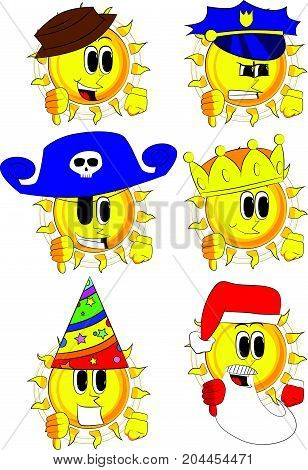 Cartoon sun showing dislike hand sign. Collection with costume. Expressions vector set.
