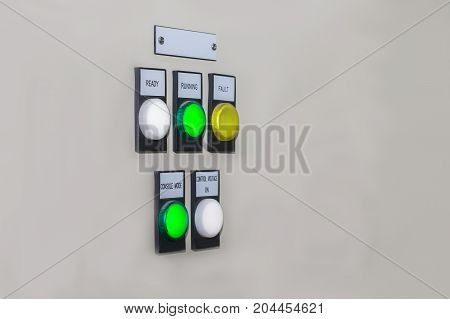 Technical display on control panel with electrical equipment devices cabinetlight