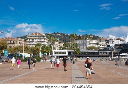 Cannes, ITALY - September 18, 2016: Le Vieux Port of Cannes. Cannes yachting festival view in sunny day.