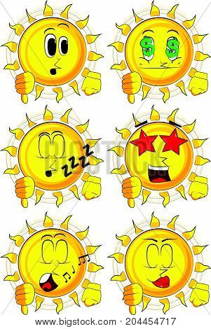 Cartoon sun showing dislike hand sign. Collection with various facial expressions. Vector set.