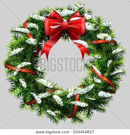 Christmas wreath with red ribbon and snow. Decorated wreath of pine branches after snowfall. Vector illustration