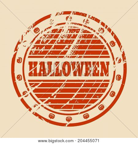 Stamp with Halloween text and pumpkin icons. Round shape. Grunge distress texture