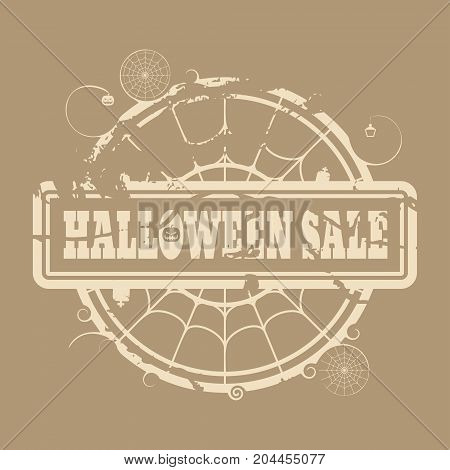 Stamp with Halloween Sale text and spider net. Round shape. Grunge distress texture