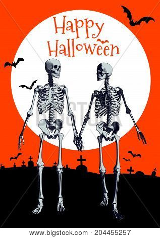 A couple of engraving skeleton holding hand and walking in the full moon orange background illustration for halloween greeting