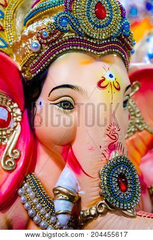 Sculpted Indian Lord Ganesha Closeup View Picture