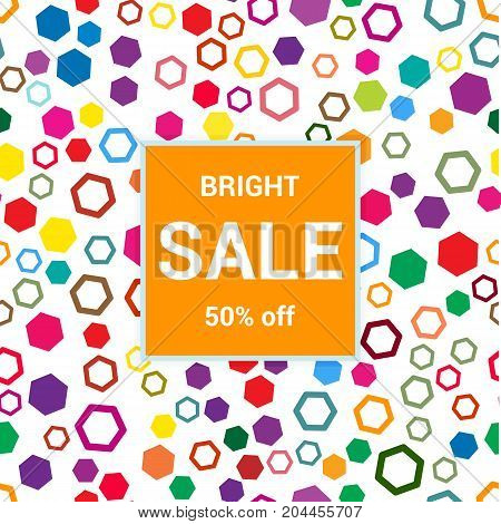 Sale Template, Discount Banner On Bright Colorful Background, Random, Chaotic, Scattered Hexagons. V