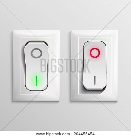 3D Toggle Switch Vector. White Switches With On, Off Position. Electric Light Control Illustration.