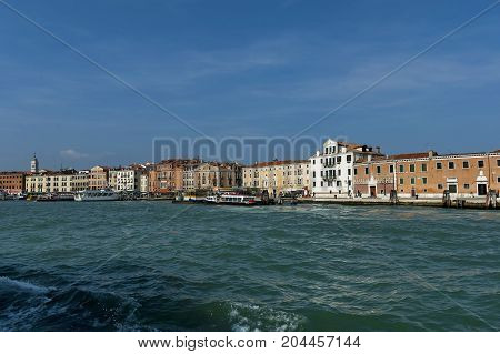 View from the sea at the residential district of waterside with port in Venezia, Venice, Italy, Europe