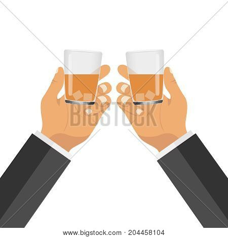 Two hands with glasses with a drink. Clinking glasses. Flat design vector illustration vector.