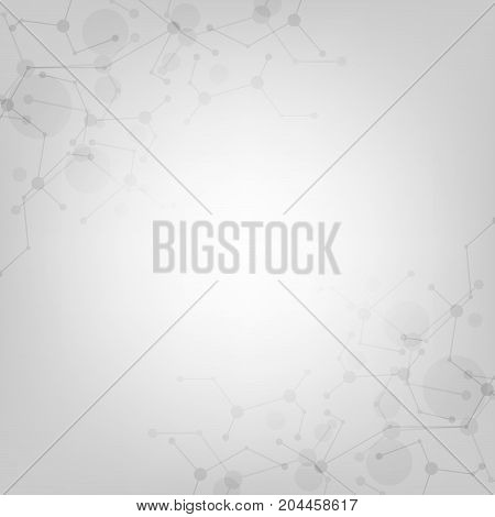 Vector technology network design on a gray background.