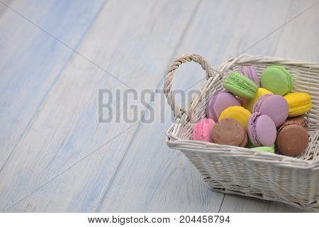 Colorful Cookies In A Basket