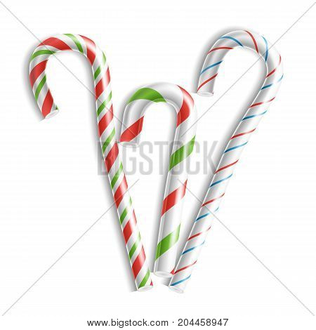 Classic Candy Cane Vector. 3D Realistic Christmas Candy Cane Set Striped In Christmas Colours. For Xmas Card And New Year Design. Isolated On White Illustration
