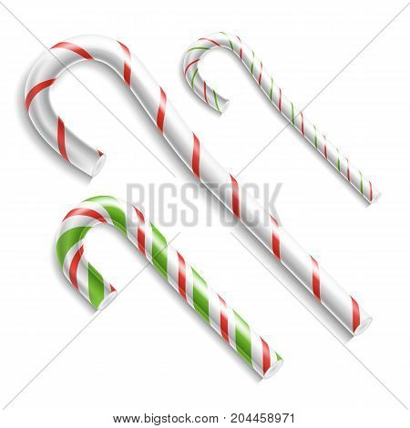 3D Xmas Candy Cane Set Vector. Isolated On White. For Christmas Card And New Year Design. Realistic Illustration