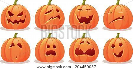 Funny Expressive Halloween Pumpkin Vector Set - Illustration of a Jack o-Lantern collection