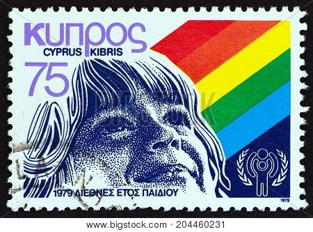 CYPRUS - CIRCA 1979: A stamp printed in Cyprus issued for the International Year of the Child shows Childs face, circa 1979.