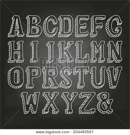 Capital letters hand drawn on a chalkboard. Vector illustration, EPS 10
