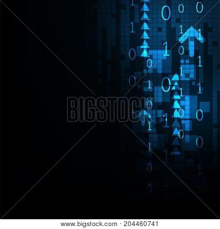 Digital world communication system on a dark blue background.