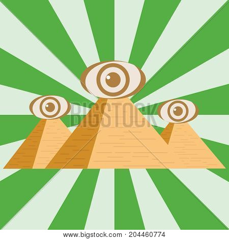 Egyptian pyramids with an eye. Three Egyptian pyramids. Flat design vector illustration vector.