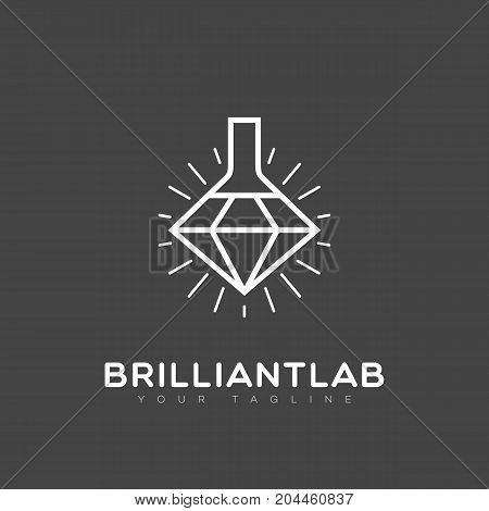 Brilliant lab outline logo template design. Vector illustration.