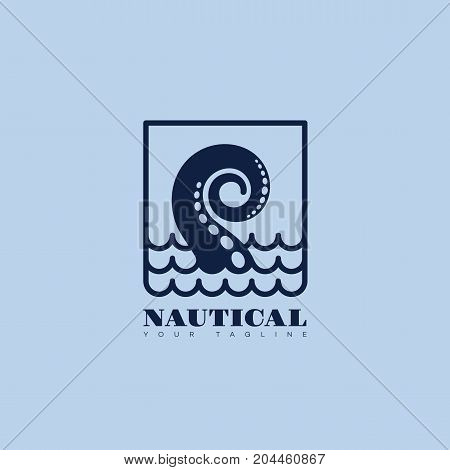 Nautical logo template design with tentacle and waves. Vector illustration.