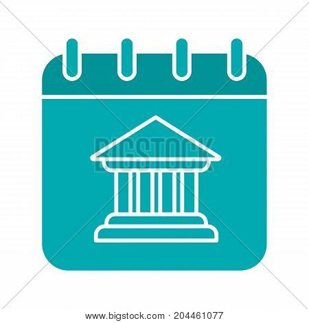 Calendar page with bank building glyph color icon. Silhouette symbol on white background. Negative space. Vector illustration