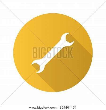 Wrench flat design long shadow glyph icon. Spanner. Vector silhouette illustration