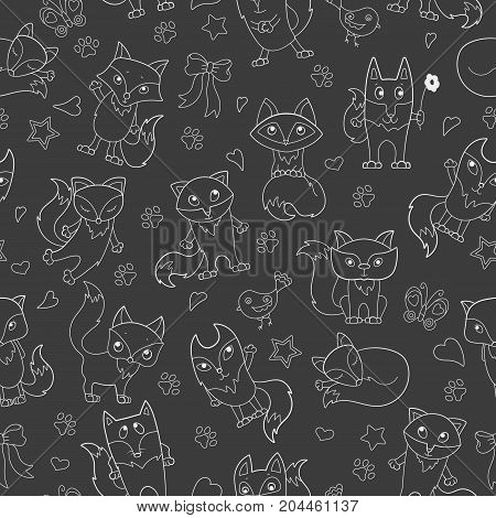 Seamless pattern with funny cartoon foxes white outline on a dark background