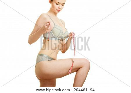 Woman Measuring Her Under Breasts.