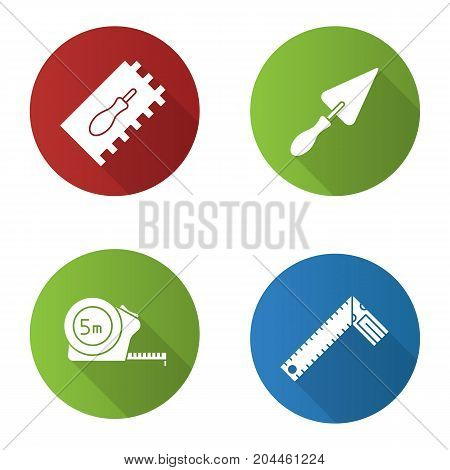 Construction tools flat design long shadow glyph icons set. Rectangular notched, triangular shovel, measuring tape, set square. Vector silhouette illustration
