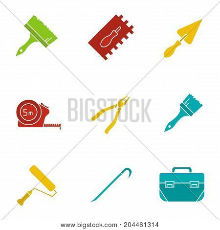 Construction tools glyph color icon set. Silhouette symbols on black backgrounds. Paint brushes, measuring tape, nippers, paint roller, crowbar, tool box. Negative space. Vector illustrations