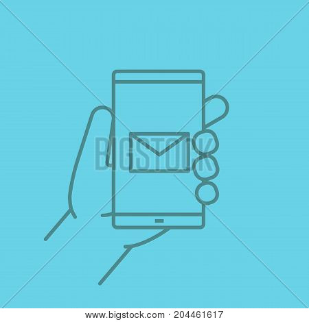 Hand holding smartphone linear icon. Smart phone sms message. Thin line outline symbols on color background. Vector illustration