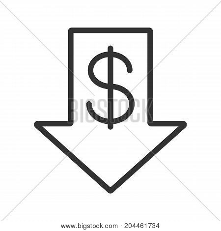 Dollar rate falling linear icon. Thin line illustration. US dollar with down arrow. Contour symbol. Vector isolated outline drawing