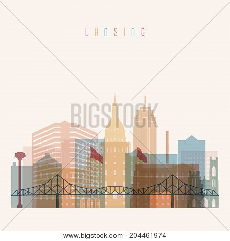 Lansing state Michigan skyline detailed silhouette. Transparent style. Trendy vector illustration.