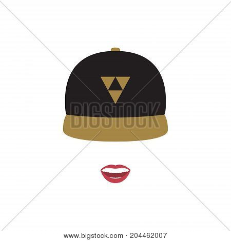 A girl in a baseball cap with her mouth open. Vector illustration.