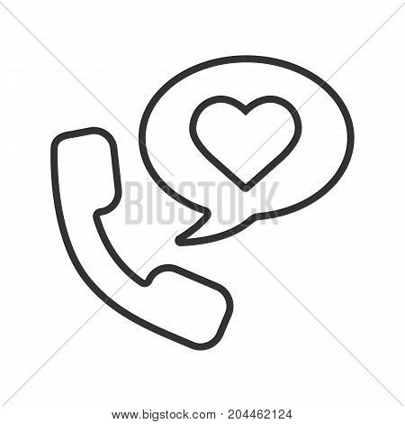 Romantic phone talk linear icon. Thin line illustration. Handset with heart inside speech bubble. Contour symbol. Vector isolated outline drawing