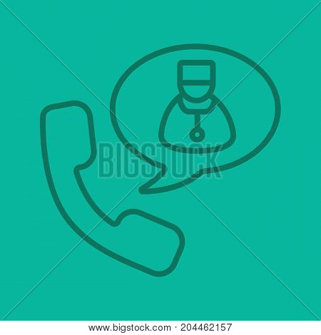Phone call to doctor linear icon. Handset with therapist inside speech bubble. Thin line outline symbols on color background. Vector illustration