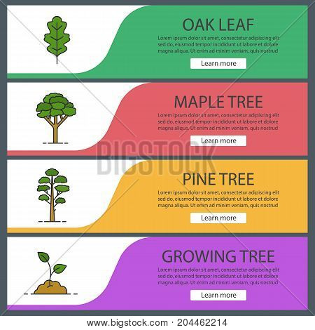 Forestry web banner templates set. Oak leaf, maple and pine trees, growing sprout. Website color menu items. Vector headers design concepts
