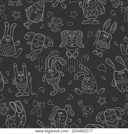 Seamless pattern with contour images of cartoon rabbits white outline on a dark background