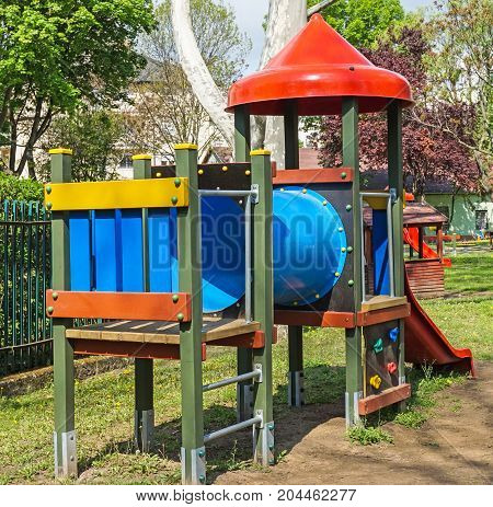 Jungle gym at the playground in the city