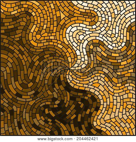 Abstract wavy stained glass background monochrome,tone brown