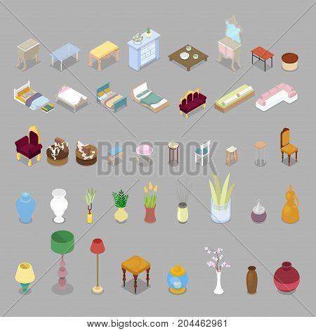 Isometric Living Room Bedroom Furniture Set. Interior Design. Vector flat 3d illustration