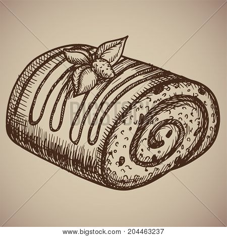Engraving chocolate roll. Delicious homemade pastry in the sketch style. Vector illustration. EPS 10.