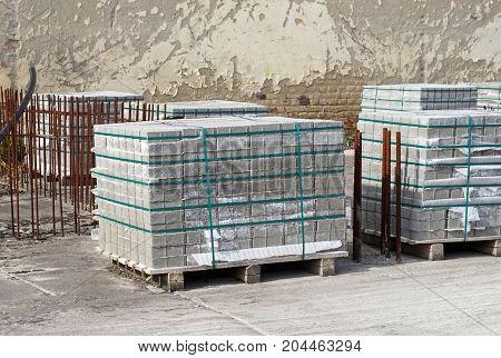 Concrete construction materials at the construction site