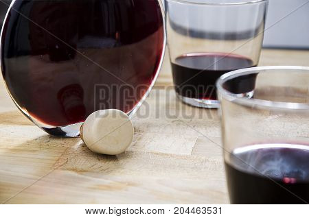 still life with a bottle of red wine and a pair of glass. relax. life style. luxury.