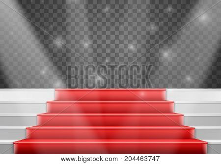 Illustration of Vector Stairs Template. 3D Realistic Vector Winner Stage Stairs with Red Carpet and Bright Light
