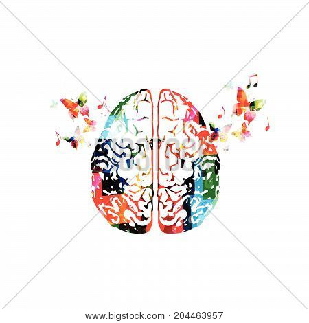 Colorful human brain with butterflies isolated vector illustration