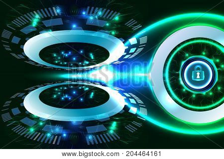 Digital technology business, futuristic background, security concept. Illustration vector