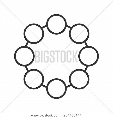 Circle linear icon. Thin line illustration. Community concept. Contour symbol. Vector isolated outline drawing